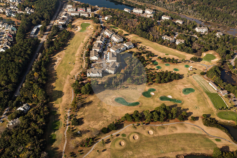 Aerial view of a Charleston National golf course development in Charleston, SC.
