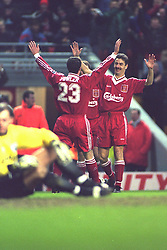 LIVERPOOL, ENGLAND - Saturday, January 6, 1996: Liverpool's Ian Rush celebrates scoring the fifth goal against Rochdale with team-mate Robbie Fowler during the FA Cup 3rd Round match at Anfield. Rush set a new cup record by scoring his 42nd FA Cup goal, beating the record held by Dennis Law. (Photo by David Rawcliffe/Propaganda)