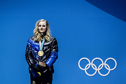 February 14, 2018 - Stockholm, Sweden - OS i Pyeongchang 2018,  Stina Nilsson tar emot sin guldmedalj för 1:a-platsen i sprinten (Credit Image: © Orre Pontus/Aftonbladet/IBL via ZUMA Wire)