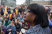 On the 10th consecutive day of protests around London by the climate change campaign Extinction Rebellion, Labour MP Diane Abbot addresses protesters in Parliamant Square, on 24th April 2019, in Westminster, London England.