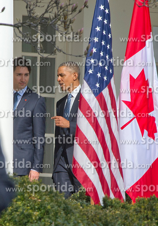United States President Barack Obama, right, and Prime Minister Justin Trudeau of Canada, left, walk on the Colonnade to the Oval Office following an Arrival Ceremony on the South Lawn of the White House in Washington, DC on Thursday, March 10, 2016. EXPA Pictures &copy; 2016, PhotoCredit: EXPA/ Photoshot/ Ron Sachs<br /> <br /> *****ATTENTION - for AUT, SLO, CRO, SRB, BIH, MAZ, SUI only*****