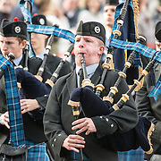 Bagpipers from the Sea Cadets march in a parade in Trafalgar Square in central London on 19 October 2014.