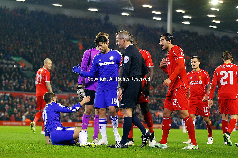20.01.2015.  Anfield, Liverpool, England. Capital One Cup Semi Final. Liverpool versus Chelsea. Chelsea forward Diego Costa helps Chelsea midfielder Eden Hazard to his feet after he wins a penalty