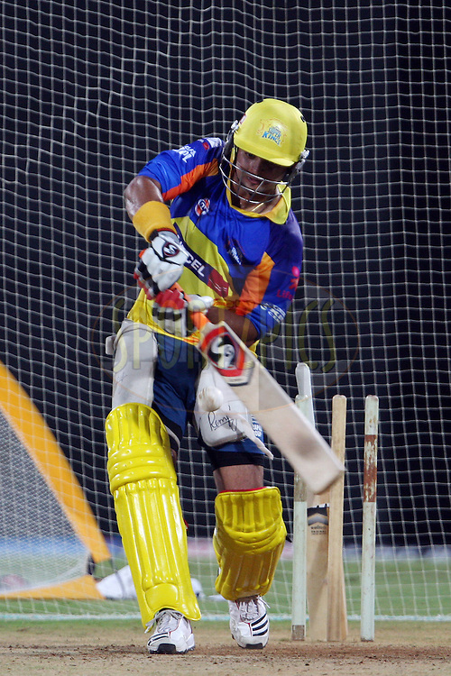Suresh Raina during the practice session of the Chennai Super Kings held at the MA Chidambaram Stadium in Chennai, Tamil Nadu, India on 18 April 2012...Photo by Jacques Rossouw/BCCI/SPORTZPICS .