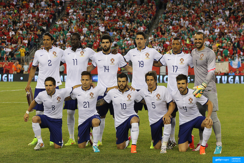 The starting lineup of Portugal before the Portugal V Mexico International Friendly match in preparation for the 2014 FIFA World Cup in Brazil. Gillette Stadium, Boston (Foxborough), Massachusetts, USA. 6th June 2014. Photo Tim Clayton