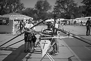Plovdiv BULGARIA. 2017 FISA. Rowing World U23 Championships. <br /> Italian crew and boatman rigging the ITA BM4-<br /> Wednesday. AM, general Views, Course, Boat Area<br /> 08:47:46  Wednesday  19.07.17   <br /> <br /> [Mandatory Credit. Peter SPURRIER/Intersport Images].