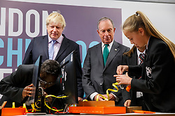 © Licensed to London News Pictures. 16/06/2014. LONDON, UK. Mayor of London Boris Johnson and former New York Mayor Michael R Bloomberg launching the first London Technology Week as they participate a computer construction race with school children in central London on Monday, 16 June 2014. Photo credit : Tolga Akmen/LNP