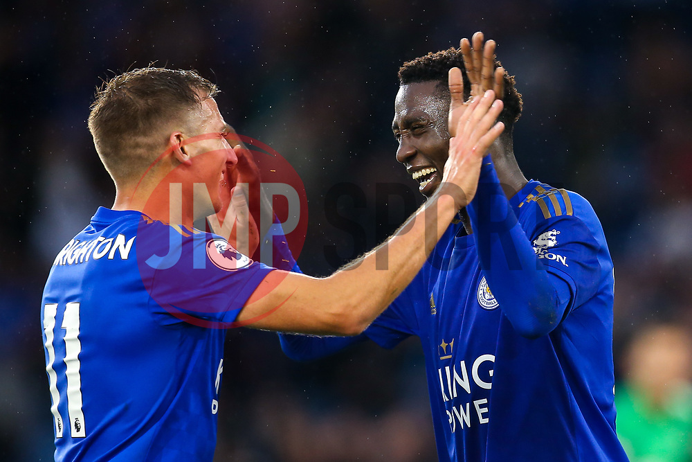 Wilfred Ndidi of Leicester City celebrates with Marc Albrighton after scoring a goal to make it 5-0 - Mandatory by-line: Robbie Stephenson/JMP - 29/09/2019 - FOOTBALL - King Power Stadium - Leicester, England - Leicester City v Newcastle United - Premier League