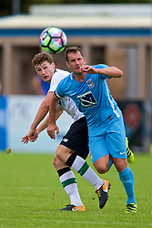 NUNEATON, ENGLAND - Saturday, July 29, 2017: Liverpool's Matthew Virtue and Coventry City's Michael Doyle during a pre-season friendly between Liverpool and Coventry City at the Liberty Way Stadium. (Pic by Paul Greenwood/Propaganda)