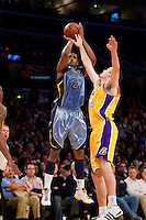 06 November 2009: Forward Rudy Gay of the Memphis Grizzles shoots the ball over Adam Morrison of the Los Angeles Lakers during the first half of the Lakers 114-98 victory over the Grizzles at the STAPLES Center in Los Angeles, CA.