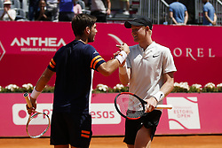 May 6, 2018 - Estoril, Portugal - Kyle Edmund (R) and Cameron Norrie (L)  from Great Britain celebrate their victory against Wesley Koolhof from Netherlands and Kyle Edmund from Great Britain in their Millennium Estoril Open ATP doubles final tennis match in Estoril, near Lisbon, on May 6, 2018. (Credit Image: © Carlos Palma/NurPhoto via ZUMA Press)