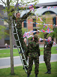 © Licensed to London News Pictures. 03/06/12.Middlesbrough, England...Army Cadets prepare for a party to celebrate the Queen's Diamond Jubilee taking place in Middlesbrough town centre in Cleveland.. .The Royal Jubilee celebrations. Great Britain is celebrating the 60th  anniversary of the countries Monarch HRH Queen Elizabeth II accession to the throne this weekend Photo credit : Ian Forsyth/LNP