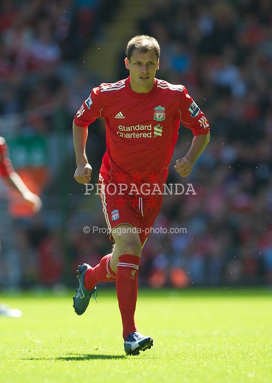 LIVERPOOL, ENGLAND - Sunday, August 29, 2010: Liverpool's Milan Jovanovic in action against West Bromwich Albion during the Premiership match at Anfield. (Photo by David Rawcliffe/Propaganda)