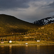 Three weeks aboard the Kong Harald. Hurtigruten, the Coastal Express. Coastal landscape near Skjervoy (Troms) just before the midnight sun. Small red houses are lying near the shore.