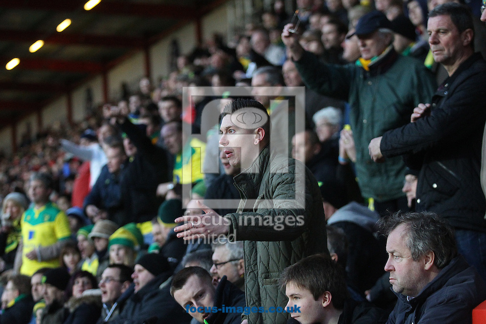 The traveling Norwich fans get animated during the match at the Goldsands Stadium, Bournemouth<br /> Picture by Paul Chesterton/Focus Images Ltd +44 7904 640267<br /> 10/01/2015