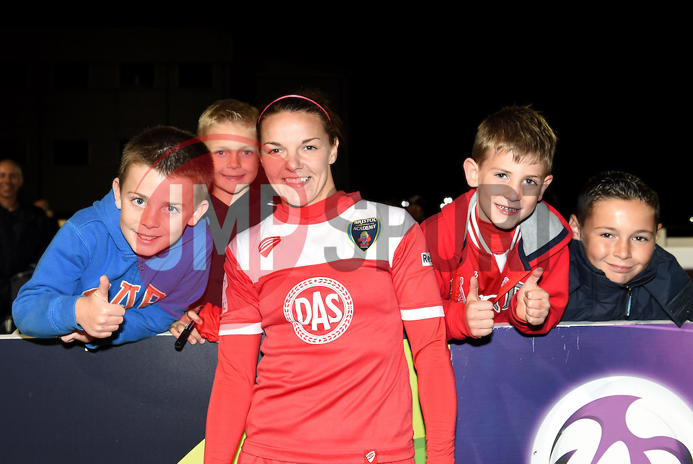 Loren Dykes of Bristol Academy Women poses with young supporters - Mandatory by-line: Paul Knight/JMP - Mobile: 07966 386802 - 04/10/2015 -  FOOTBALL - Stoke Gifford Stadium - Bristol, England -  Bristol Academy Women v Liverpool Ladies FC - FA Women's Super League