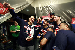 September 27, 2017 - St. Louis, MO, USA - Chicago Cubs first baseman Anthony Rizzo takes a photo while celebrating their team's division clinch with a win over the St. Louis Cardinals on Wednesday, Sept., 27, 2017 at Busch Stadium in St. Louis, Mo. (Credit Image: © Nuccio Dinuzzo/TNS via ZUMA Wire)