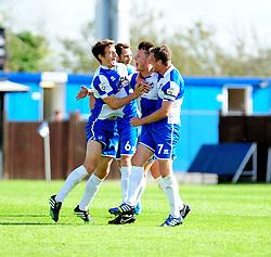 Bristol Rovers celebrate Ollie Clarkes (2nd R) goal - Photo mandatory by-line: Neil Brookman - Mobile: 07966 386802 23/08/2014 - SPORT - FOOTBALL - Bristol - Memorial Stadium - Bristol Rovers v AFC Telford - Vanarama Football Conference