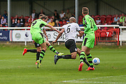 Forest Green Rovers Christian Dioge (9) shoots to score a goal, 3-3 during the Vanarama National League match between Dover Athletic and Forest Green Rovers at Crabble Athletic Ground, Dover, United Kingdom on 10 September 2016. Photo by Shane Healey.