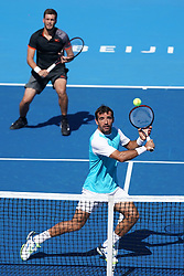 BEIJING, Oct. 3, 2018  Ivan Dodig (Bottom)/Nikola Mektic of Croatia compete during the men's doubles first round match against Hua Runhao/Zhang Zhizhen of China at China Open tennis tournament in Beijing, China, Oct. 3, 2018. Ivan Dodig/Nikola Mektic won 2-0. (Credit Image: © Ju Huanzong/Xinhua via ZUMA Wire)