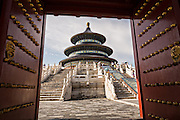 View of the Hall of Prayer for Good Harvests known as the Temple of Heaven during summer in Beijing, China