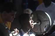 Oxford High weigtlifters and Lafayette High weightlifters compete in a high school weightlifting contest at Oxford Middle School in Oxford, Miss. on Saturday, January 29, 2011.