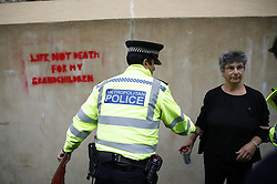 © Licensed to London News Pictures. 07/10/2019. London, UK. Police detain a Extinction Rebellion protestor after a message was sprayed on the walls of the Treasury in central London . Activists are converging on Westminster blockading roads in the area for at least two weeks calling on government departments to 'Tell the Truth' about what they are doing to tackle the Emergency. Photo credit: Peter Macdiarmid/LNP