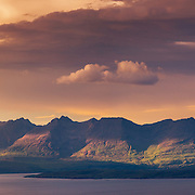 The Skye Cuillin and Soay from Barkeval, Isle of Rum