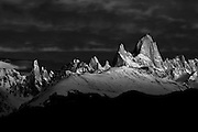 Black and white image of sunrise at Mt. Fitzroy in  the Southern Andes, Patagonia, Argentina, South America