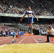 Dan Bramble GB long jumper during the Sainsbury's Anniversary Games at the Queen Elizabeth II Olympic Park, London, United Kingdom on 25 July 2015. Photo by Mark Davies.