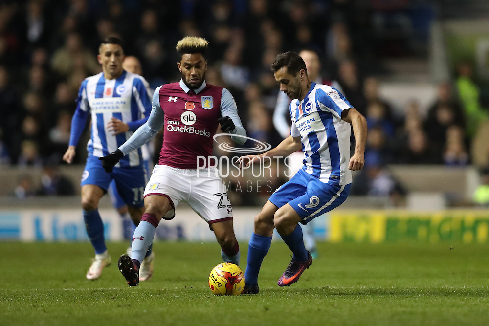 Brighton & Hove Albion centre forward Sam Baldock (9) during the EFL Sky Bet Championship match between Brighton and Hove Albion and Aston Villa at the American Express Community Stadium, Brighton and Hove, England on 18 November 2016.