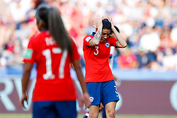 2019?6?17?.   ???????????——F??????????.    6?16???????????????  .   ?????????????????2019??????????F??????????3?0??????.   ?????????..SP-FRANCE-PARIS-FIFA WOMEN'S WORLD CUP-GROUP F-USA-CHILE.(1906017) -- PARIS, June 17, 2019  Carla Guerrero of Chile reacts during the Group F match between the United States and Chile at the 2019 FIFA Women's World Cup in Parc des Princes in Paris, France, June 16, 2019.  The United States won 3-0. (Credit Image: © Xinhua via ZUMA Wire)