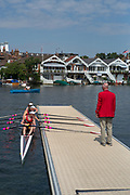 "Henley on Thames, United Kingdom, 4th July 2018, Thursday, View,  second day of the annual,Y-Quad Cities, Quad, Rowing Association,   ""Henley Royal Regatta"", Henley Reach, River Thames, Thames Valley, England, © Peter SPURRIER,"