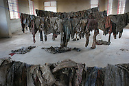 Clothing of victims found massacred on display at the Murambi Genocide Memorial Centre, at the site of the former Murambi Technical School where some 45,000 Tutsi were murdered  during the Rwandan Genocide.