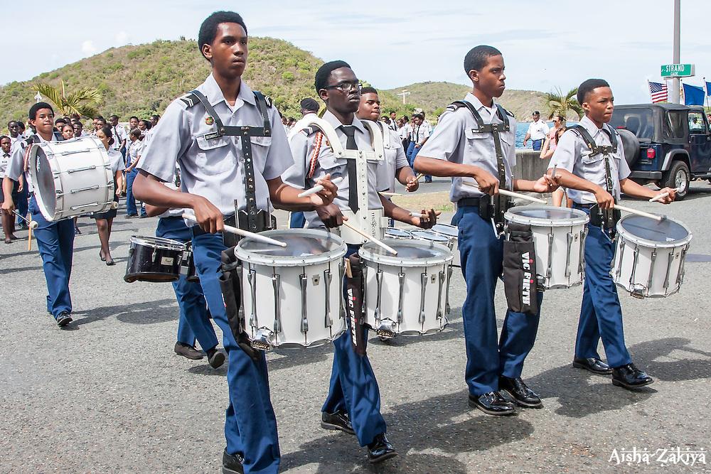 Drum Majors of Ivanna Eudora Kean High School ROTC.  St. Thomas Memorial Day Ceremony and Parade.  Franklin D. Roosevelt Veterans Park.  St. Thomas, USVI.  30 May 2016.  © Aisha-Zakiya Boyd