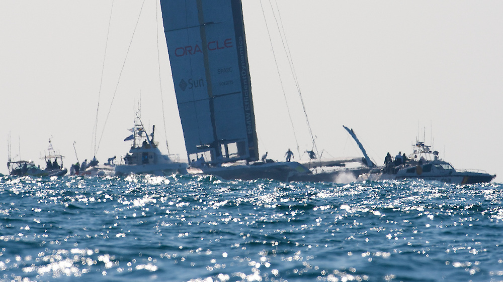 SPAIN, Valencia, 12th February 2010, 33rd America's Cup, Race 1, BMW ORACLE Racing Team, prestart.