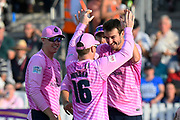 Wicket - Toby Roland-Jones of Middlesex celebrates taking the wicket of Babar Azam of Somerset during the Vitality T20 Blast South Group match between Somerset County Cricket Club and Middlesex County Cricket Club at the Cooper Associates County Ground, Taunton, United Kingdom on 30 August 2019.
