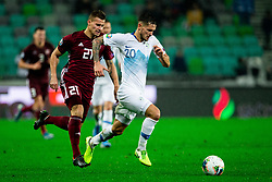 Eriks Punculs  of Latvia vs Petar Stojanovic  of Slovenia during the 2020 UEFA European Championships group G qualifying match between Slovenia and Latvia at SRC Stozice on November 19, 2019 in Ljubljana, Slovenia. Photo by Vid Ponikvar / Sportida