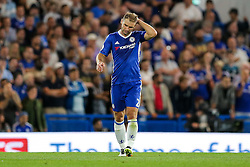 Branislav Ivanovic of Chelsea looks dejected after James Collins of West Ham United scores a goal to make it 1-1 - Rogan Thomson/JMP - 15/08/2016 - FOOTBALL - Stamford Bridge Stadium - London, England - Chelsea v West Ham United - Premier League Opening Weekend.