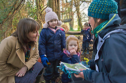 Pictured: Daphne Shaw (4) and Naomi Sanderson (4) helped the minister with bird recognition<br /> Minister for Early Years and Childcare, Maree Todd today met a kindergarten class taking part outdoor learning at Luariston Castle Edinburgh.<br /> <br /> <br /> Ger Harley | EEm 22 February 2018