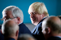 © Licensed to London News Pictures. 18/05/2017. Halifax, UK. Foreign secretary BORIS JOHNSON attends the launch event for the Conservative Party manifesto at The Arches in Halifax, West Yorkshire. The Conservatives are the last of the three main parties to launch their manifesto ahead of a snap general election called for June 8, 2017. Photo credit: Ben Cawthra/LNP