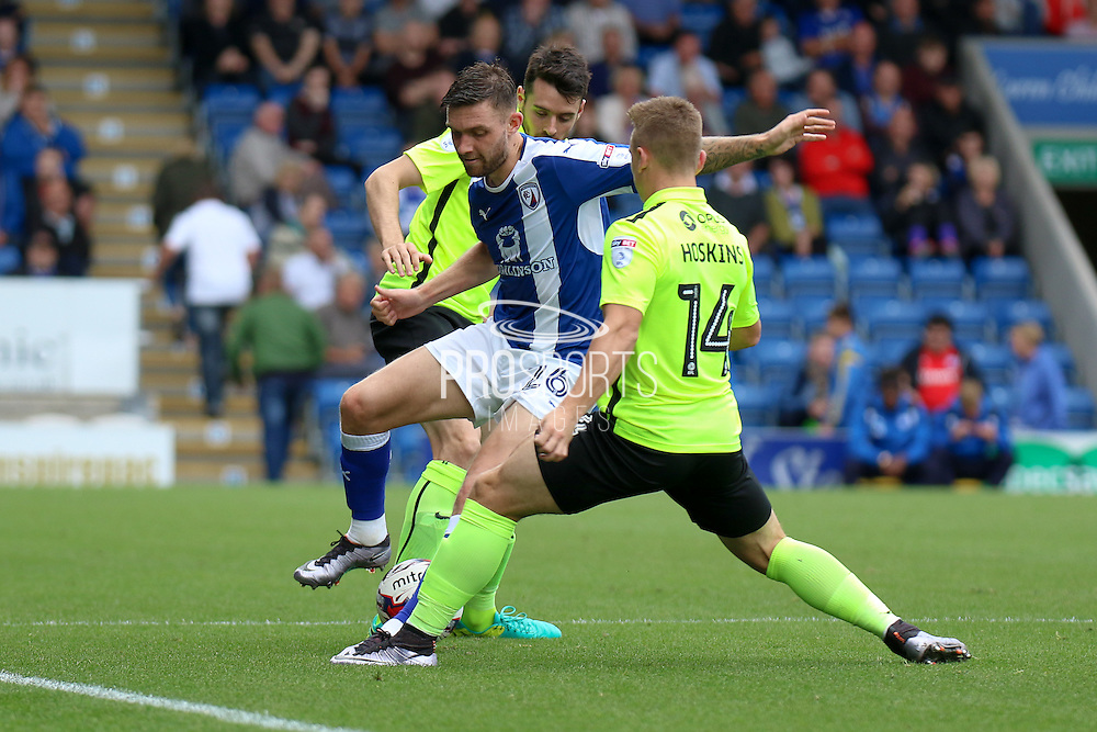 Chesterfield midfielder Jay O'Shea (26) challenged by Northampton striker Sam Hoskins (14) during the EFL Sky Bet League 1 match between Chesterfield and Northampton Town at the Proact stadium, Chesterfield, England on 17 September 2016. Photo by Aaron  Lupton.