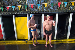 ©  London News Pictures. 26/01/2013. London, UK. Competitors prepare to race in the Cold Water Swimming Championships at Tooting Bec Lido in South London on January 26, 2013. The biannual event sees some competitors dress in costume. Photo credit: Ben Cawthra/LNP