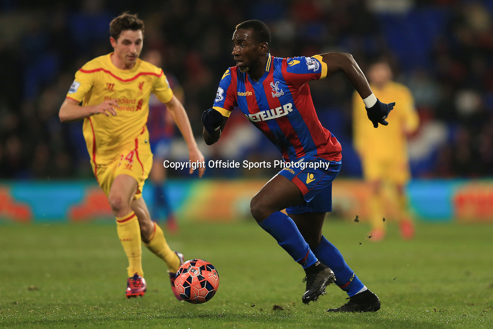 14 February 2015 - The FA Cup Fifth Round - Crystal Palace v Liverpool - Yannick Bolasie of Crystal Palace in action with Joe Allen of Liverpool - Photo: Marc Atkins / Offside.