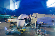 Airbus A380 first commercial flight - Singapore Airlines SQ 380 Singapore-Sydney on October 25, 2007. The plane ready to board.