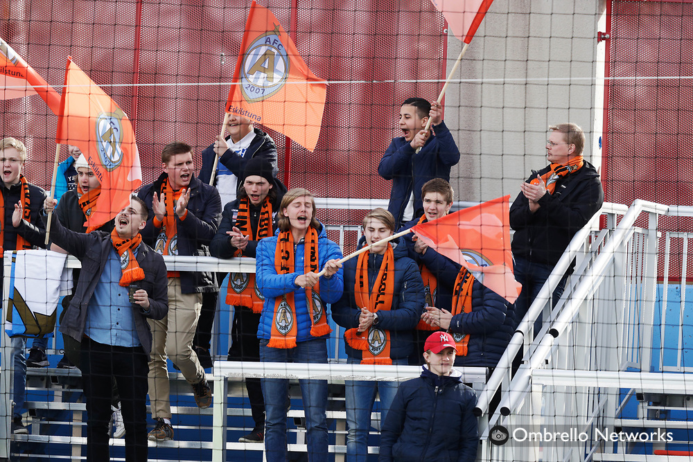 ESKILSTUNA, SWEDEN - APRIL 08: Fans of Athletic FC Eskilstuna during the Allsvenskan match between Athletic FC Eskilstuna and Örebro SK at Tunavallen on April 8, 2017 in Eskilstuna, Sweden. Foto: Nils Petter Nilsson/Ombrello