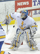 Lake Superior State goaltender Brian Mahoney-Wilson deflects a Notre Dame shot during Saturday's game in Sault Ste. Marie.