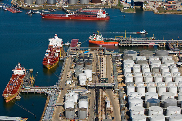 Aerial view of ships in the Port of Houston