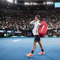 Roger Federer of Switzerland on day eleven of the 2017 Australian Open at Melbourne Park on January 26, 2017 in Melbourne, Australia.<br /> (Ben Solomon/Tennis Australia)
