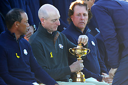 Team USA captain Jim Furyk takes the lid off the Ryder Cup during the Team USA photocall on preview day three of the Ryder Cup at Le Golf National, Saint-Quentin-en-Yvelines, Paris. PRESS ASSOCIATION Photo. Picture date: Wednesday September 26, 2018. See PA story GOLF Ryder. Photo credit should read: David Davies/PA Wire. RESTRICTIONS: Editorial use only. No commercial use.